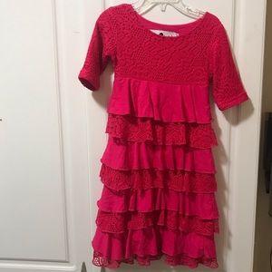 Girl's Hot Pink Ruffle dress